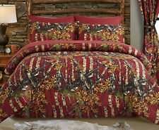 BURGUNDY RED 1pc Twin COMFORTER : TREE WOODLAND CAMOUFLAGE WOODS CABIN HUNTING