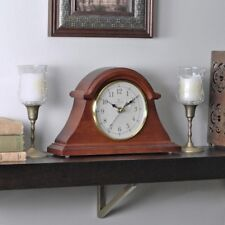 Napoleon Tabletop Clock Mantle Desk Classic Solid Wood Timepiece Walnut Finish