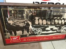 Miller High Life Beer Mirror Sign 1855 Barrel Keg Wagon