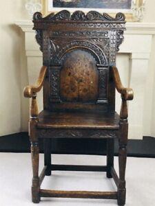Rare English Charles II Oak Wainscot Armchair likely Battle Abbey c.1660-1685