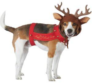 Reindeer Dog Happy Howl-idays Cute Antlers Christmas Pet Costume w Bells XS-LG