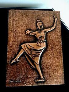 Sri Lanka Dancing Lady Copper Foil Wall Plaque