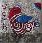 USA BIRDIE RUG IN A DAY LINEN PATERN  PRIMITIVE RUG HOOKING