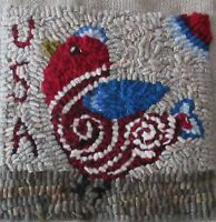 USA BIRDIE~ RUG IN A DAY LINEN PATERN ~ PRIMITIVE RUG HOOKING