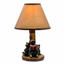 "Reading Bears Accent Lamp - Oiled Paper Shade, 60"" Cord, Rustic - NEW - FreeShip"