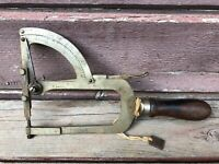 ANTIQUE WALTHAM THICKNESS GAUGE - WOODWORKING TOOL w WOOD HANDLE