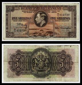 1937 BERMUDA  FIVE SHILLINGS