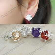 CLIP ON cubic zirconia EARRINGS silver plated CLIPS 8mm brilliant cut CZ crystal