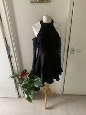 missguided black dress lace fluted sleeve cold shoulder skater flare ballerina