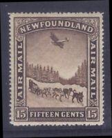 NEWFOUNDLAND C9v 1931 15c DOG TEAM & AIRPLANE AIRMAIL P14.3x14.1 VF MPH CV$45