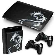 PS3 SuperSlim PlayStation 3 Skin Stickers PVC for Console & 2 Pads Dragon Tribal