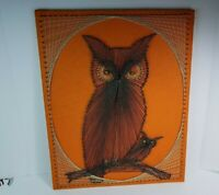 Vintage Owl w/ Baby String Art On Nails & Wood On Felt Picture Mid Century 21x16