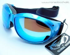 OCCHIALI DA SOLE GOOGLE ELIMINATOR AZZURRO MOTO VESPA GLOBAL VISION USA SPORT