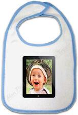 Bavoir Bébé Bleu Cadre Photo Ipad personnalisé avec votre Photo