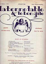 La bonne table et le bon gîte ! N°8 ! Juillet 1925 ! Revue culinaire ancienne R1