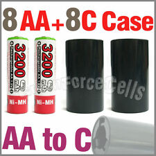 8 3200mAh AA NiMH Battery Ultra R+ 8 AA to C LR14 Holder Case Adaptor Converter