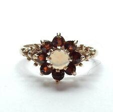 Vintage Opal And Garnet Ring Flower Cluster 9 Carat Yellow Gold 1979 HM 3g