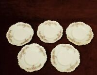 """Antique MZ Austria Set of 5 Small 5"""" Plates Pink Roses Gold Trim Scalloped"""