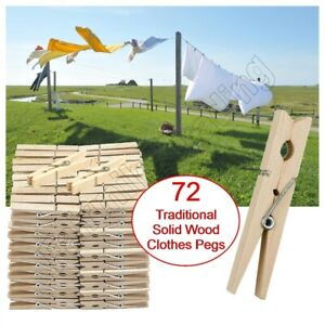 72 Solid Wooden Clothes Pegs Clips Washing Line Airer Rotary Dry Laundry Garden