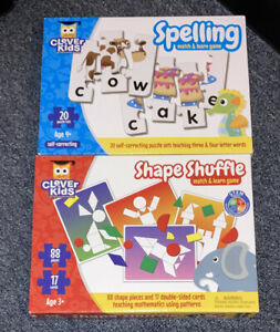 2 Box Lot. Puzzles That teach spelling.  Learning Shapes and Colors. 3+