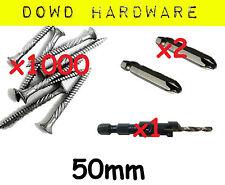 1000 50mm Decking Screws Stainless Coated Timber 10G Gauge Bugle head Quadrex