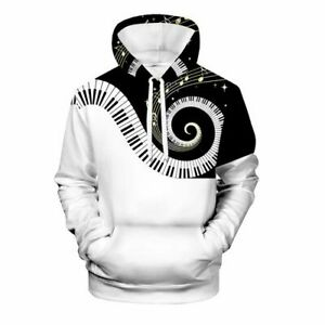 Musical Note Harajuku Tops Women Men 3D Print Hoodies Pullover Sweatshirts