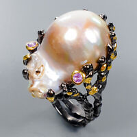 Baroque Pearl Ring Silver 925 Sterling Beautiful Design Size 8.5 /R134282