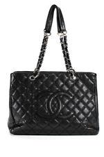 "Chanel стеганая кожа марки ""черная икра Gst Гранд сумки-тоут, сумка с короткими ручками, наплечная сумка черный"