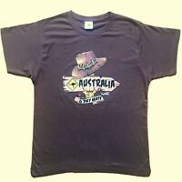 Adult T Shirt Australian Australia Day Souvenir Top Outback Hat 100%Cotton Coffe
