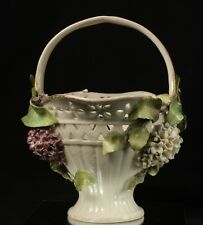 Antique German Porcelain Basket With Lilac Flowers 9 Inches Tall