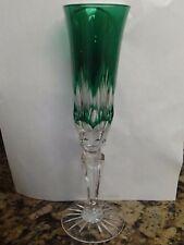 """Green Cut To Clear Cased Crystal AJKA JULIAN Champagne Flute 9"""""""