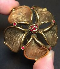 Vintage Flower Brooch Ruby Red Rhinestone Gold Pin Antique Jewelry Estate Sale