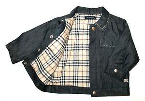 Burberry 12 Months Unisex Baby Infant Navy Blue Denim Jacket Coat - Minor Defect