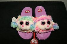 f1f27cd449e New Girls Youth Ty Beanie Boo Rainbow Poodle Slide Slippers Size 2-3 Tie Dye
