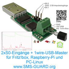 2x S0-Eingänge + 1-wire-USB-Master für Raspberry-PI,Linux,energy-meter,FHEM