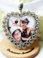 Heart Photo Bouquet Memory Charm With Diamantés Personalised Picture Charm Bride