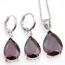 Mother's Day Water Drop Natural Fire Red Garnet Silver Dangle Earrings Pendants
