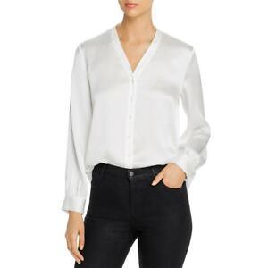 Eileen Fisher Womens Silk Button front v neck Button-Down Top Shirt BHFO 8843