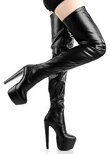 DESTROYER Black leather look overknee thigh boots with chunky heel