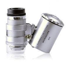 Mini 60X Zoom Magnification LED Pocket Microscope Jeweler Magnifier Glass Loupe