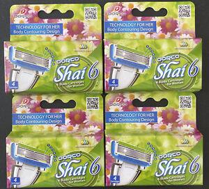 Lot Of 16 Dorco Shai 6 Blade Cartridges For Women, (4) Packs, Brand New