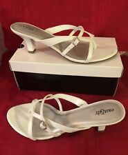 LADIES SIZE 9.5M  WHITE STRAPPY DRESS SANDALS - ZIYA By EAST 5th