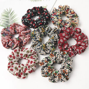 Cherry Floral Chiffon Scrunchies Hair Ties Elastic Rubber Bands Hair Ring Rope