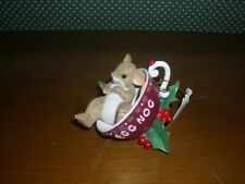 """Charming Tails-3""""H Mouse In Eggnog Cup Fig.Drink In All The Joys Of The Season"""