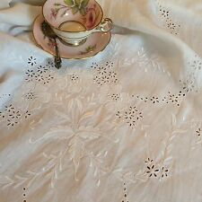 """Pretty Vintage Large White CutWork Embroidered Tablecloth Scalloped Edge 64x62"""""""