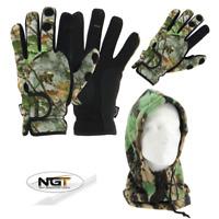 NGT CAMO Neoprene Fishing Gloves, Folding Fingers M L & XL + Camo Fleece Snood