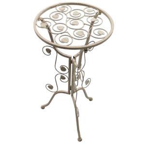 Beistelltisch Tisch aus Metall im Antik Look P-274 antik-weiß/creme