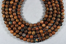 "NATURAL AFRICAN GREEN OPAL 8MM ROUND BEADS 16"" STRAND BROWN"