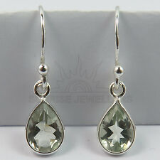 Genuine GREEN AMETHYST Pear Gemstones 925 Solid Sterling Silver Cute Earrings
