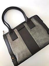 Fossil Women's Pewter Leather Gwen Color-block Zip Satchel handbag ZB6996044 NWT